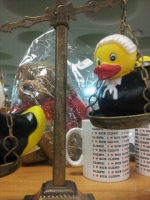Check out our Barrister Ducks sitting in our Scales of Justice