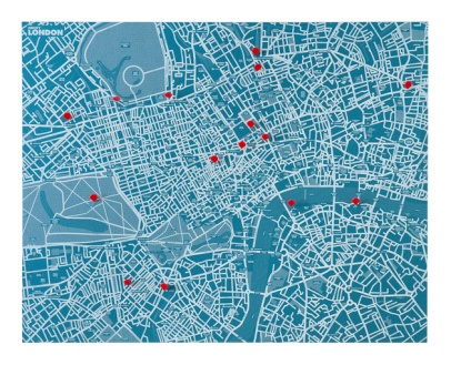 Love this - a wall map of London on which you can pin your places of interest