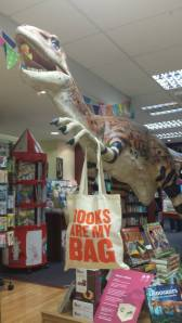 Even Myrtle, our shop dinosaur got in on the Books Are My Bag fever last year